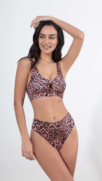 bikini set σε pink animal print, τοπ με δεσιμο μπροστά και ανοιγμα, σλιπ με μπάσκα