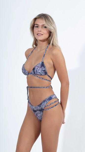 bikini, set σε snake print με κορδόνια και σχέδιο στο slip