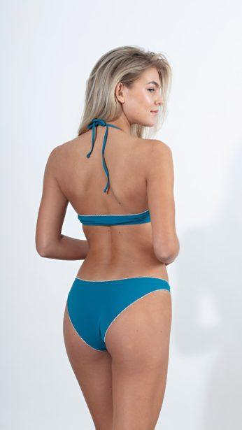 bikini slip σε πετρόλ ματ χρώμα 80's με εφε κέντημα στο τελείωμα