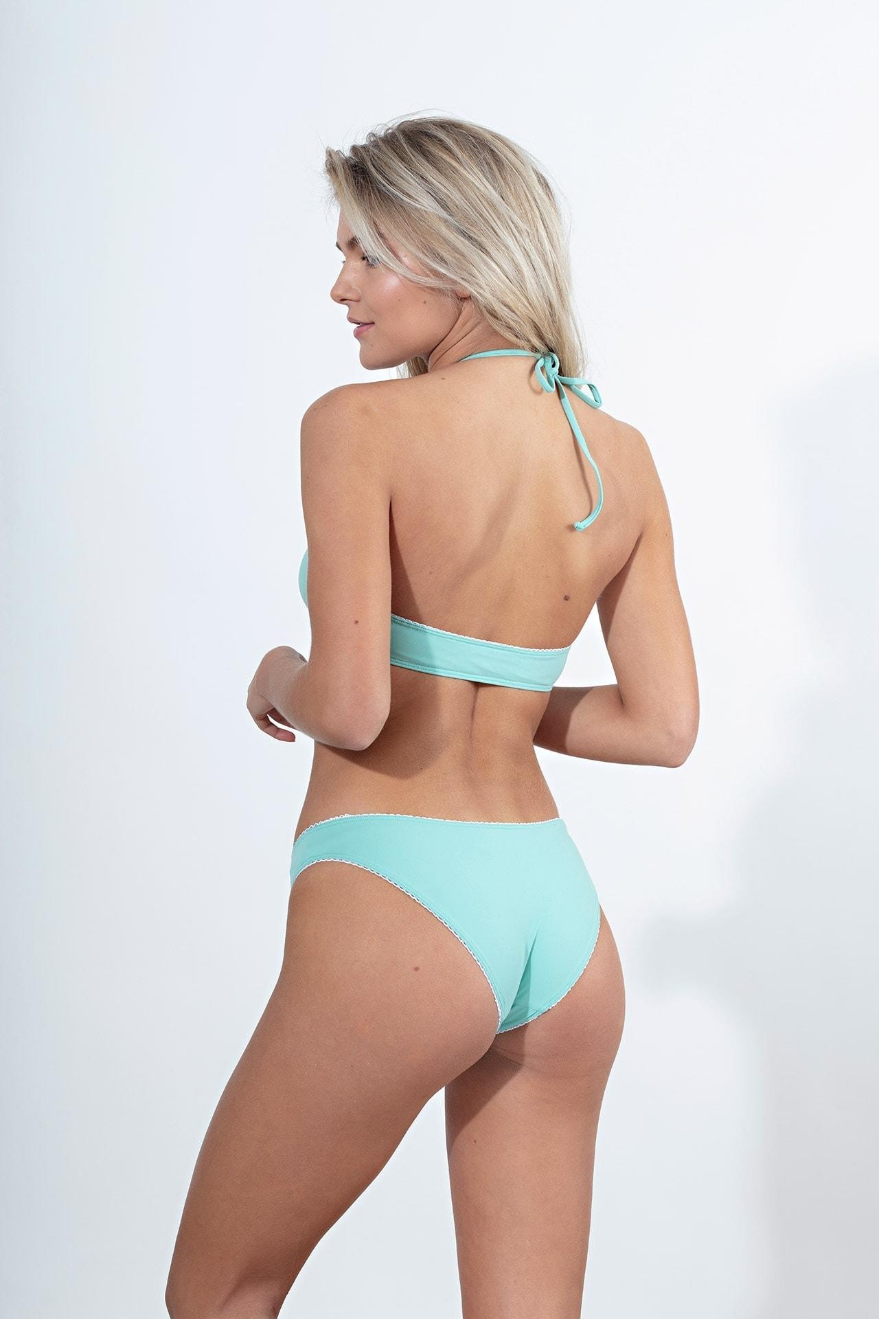 bikini slip σε μέντα ματ χρώμα 80's με εφε κέντημα στο τελείωμα