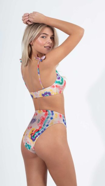 bikini, slip, ψηλόμεσο, πολύχρωμο tie dye υφαντό ύφασμα