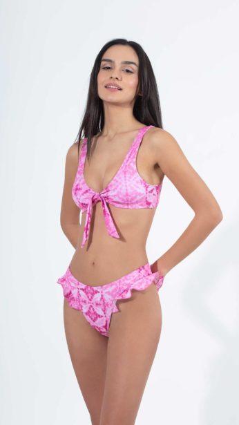 bikini slip tie dye ροζ print με άνοιγμα στο ένα πλαι με φόδρα