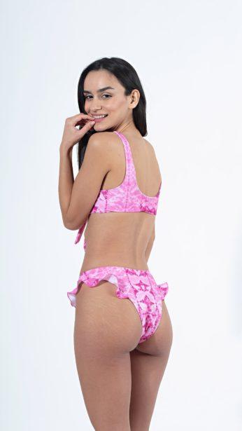 bikini, slip, με βολάν στο πλάi ροζ tie dye print