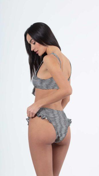 bikini, slip, με βολάν στο πλάι ασπρόμαυρο ριγε