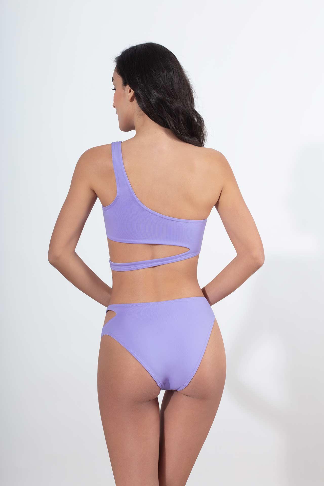 bikini slip μωβ λιλά με άνοιγμα στο ένα πλαι